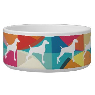 RETRO MULTI COLOUR GRAPHIC WEIMARANER DOG BOWL LRG