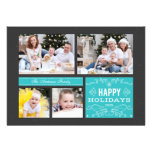 Retro Multi Photo Happy Holidays Card