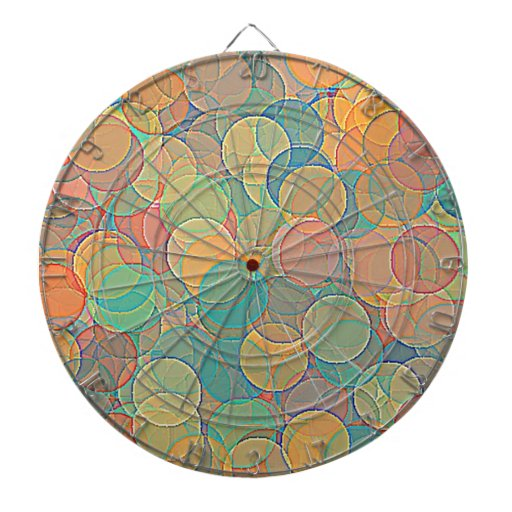 Retro MultiColored Abstract Circles Pattern Dartboard