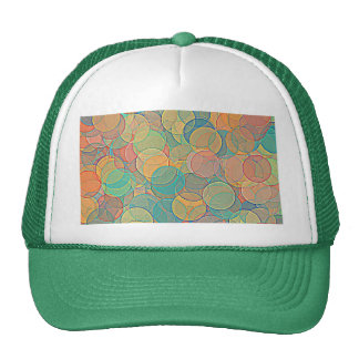 Retro MultiColored Abstract Circles Pattern Trucker Hats