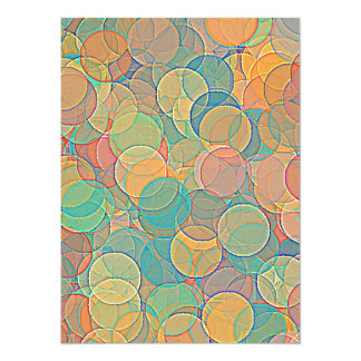 Retro MultiColored Abstract Circles Pattern Invitations