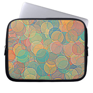 Retro MultiColored Abstract Circles Pattern Laptop Computer Sleeves