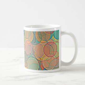 Retro MultiColored Abstract Circles Pattern Mugs