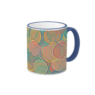 Retro MultiColored Abstract Circles Pattern Coffee Mug