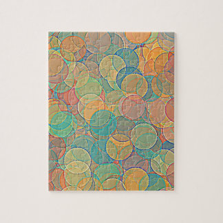 Retro MultiColored Abstract Circles Pattern Jigsaw Puzzles