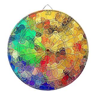 Retro Multicolored Circles Pattern Dartboard With Darts