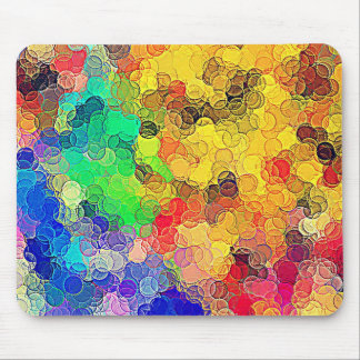 Retro Multicolored Circles Pattern Mouse Pads