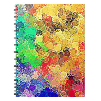 Retro Multicolored Circles Pattern Notebook