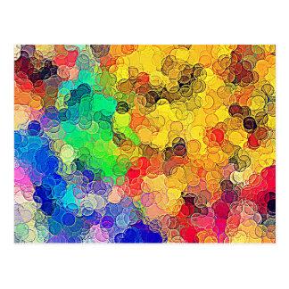 Retro Multicolored Circles Pattern Postcards