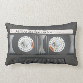 Retro Music Cassette Mix Tape Look Custom Text Lumbar Pillow