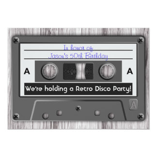 Retro Music Cassette Tape Disco Party Card