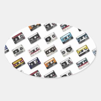 Retro Music Cassette Tapes Oval Sticker