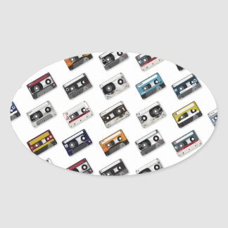 Retro Music Cassette Tapes Oval Stickers