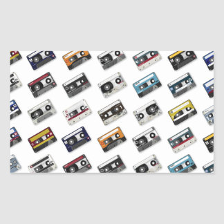 Retro Music Cassette Tapes Rectangle Sticker