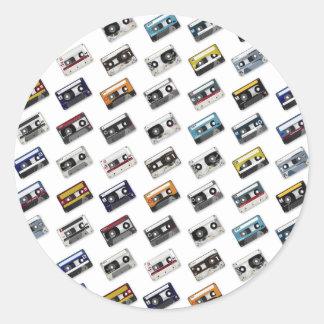 Retro Music Cassette Tapes Round Sticker