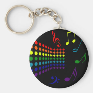 Retro Music II Basic Round Button Key Ring