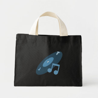 Retro Music Record & Note Blue Tote Bags