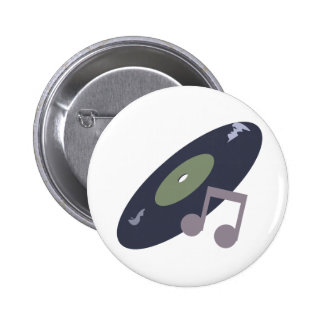 Retro Music Record & Note Original Colors 6 Cm Round Badge