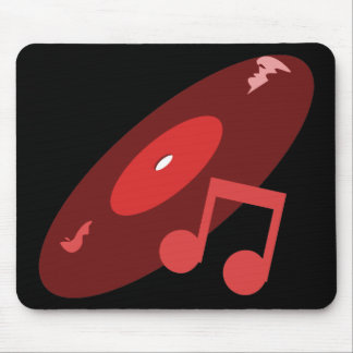 Retro Music Record & Note Red Mouse Pad