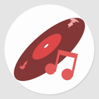 Retro Music Record & Note Red Round Stickers