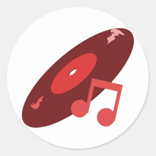 Retro Music Record & Note Red Round Stickers