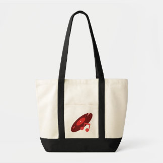 Retro Music Record & Note Red Canvas Bags