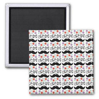 Retro Mustache Bike Pattern Fridge Magnet