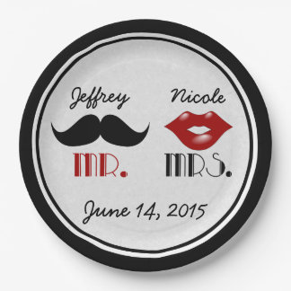 Retro Mustache Custom Wedding 9 Inch Paper Plate