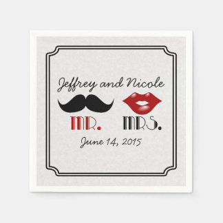Retro Mustache Custom Wedding Disposable Napkin