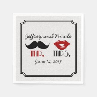 Retro Mustache Custom Wedding Paper Napkins