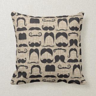Retro Mustache Moustache Stache Pattern Throw Pillow