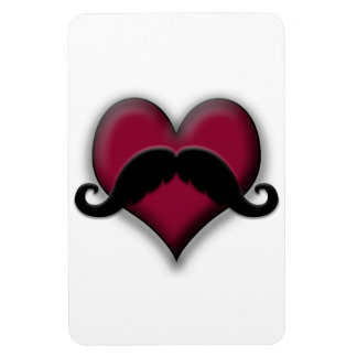 Retro Mustache on Heart Rectangle Magnets