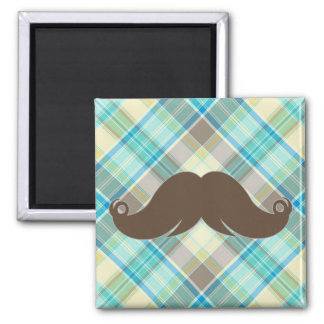 Retro Mustache on Plaid Background CUTE! Refrigerator Magnets