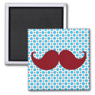 Retro Mustache on Polka Dot Background Refrigerator Magnets