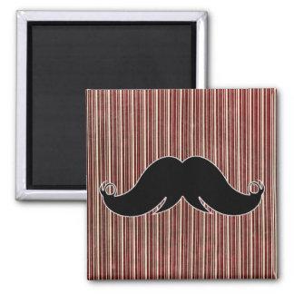 Retro Mustache on Striped Background Refrigerator Magnets