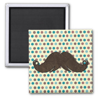 Retro Mustache with Polka Dots Refrigerator Magnets