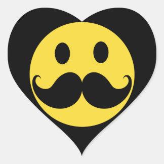 Retro Mustache Yellow Smiley Face Heart Sticker