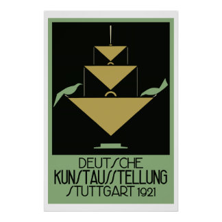 Retro naïve art deco poster