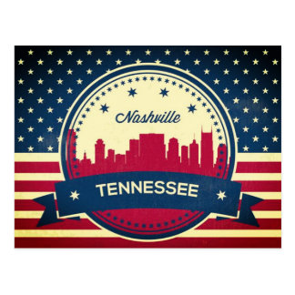 Retro Nashville Tennessee Skyline Postcard