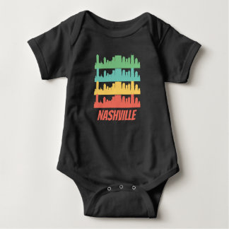 Retro Nashville TN Skyline Pop Art Baby Bodysuit
