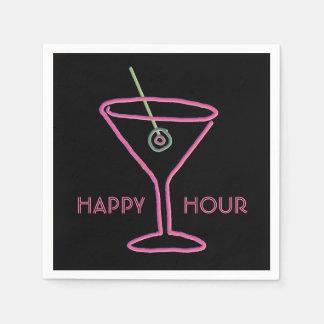 Retro Neon Martini Happy Hour Napkins Disposable Napkins