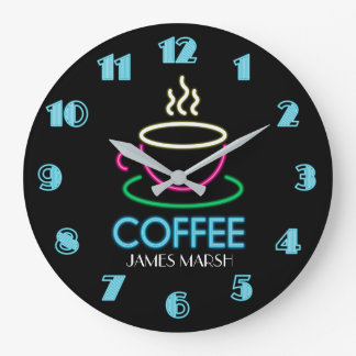 Retro Neon Sign Coffee Cafe Large Clock