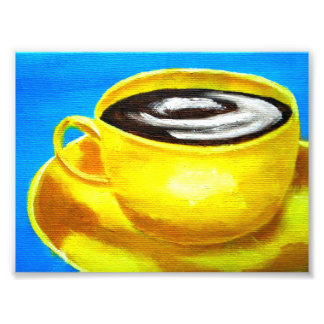 retro neon yellow and blue coffee cup java photo