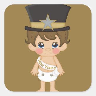 Retro New Years Baby New Year Square Sticker
