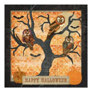 "Retro Night Owls Halloween Invitation 5.25"" Square Invitation Card"