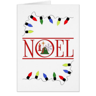 retro NOEL string of lights Greeting Card