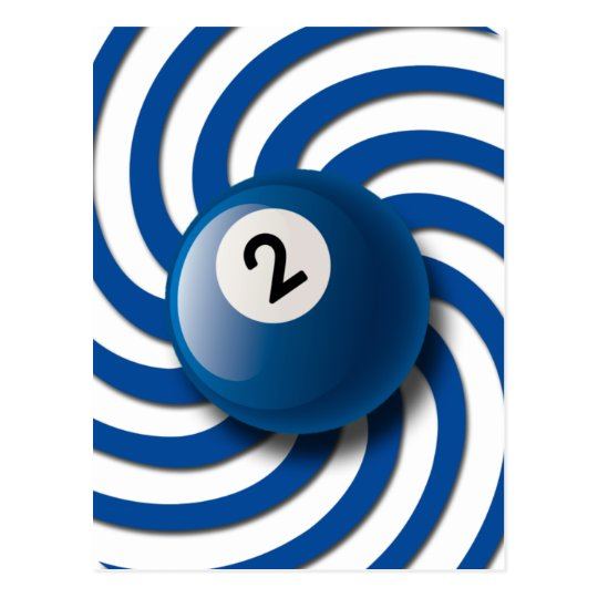 RETRO NUMBER 2 BILLIARDS BALL POSTCARD