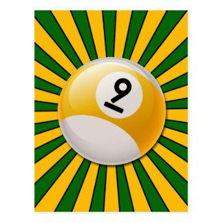 RETRO NUMBER 9 BILLIARDS BALL POSTCARD