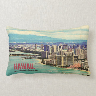 Retro Old Look Hawaii Oahu Island Waikiki Beach Lumbar Cushion