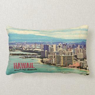 Retro Old Look Hawaii Oahu Island Waikiki Beach Lumbar Pillow